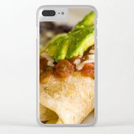 Close-up of a breakfast burrito Clear iPhone Case