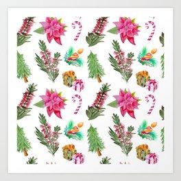 Christmas Pattern with Australian Native Bottlebrush Flowers Art Print