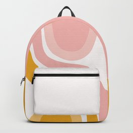 Abstract Shapes 41 in Mustard Yellow and Pale Pink Backpack
