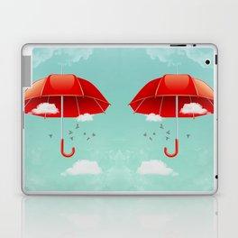 Teal Sky Red Umbrella Laptop & iPad Skin