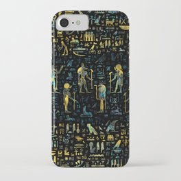 Egyptian Gods and hieroglyphs - Abalone and Gold iPhone Case