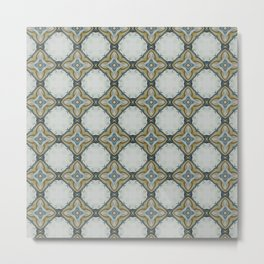 Blue yelllow floral pattern Metal Print