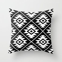 Aztec Symbol Pattern White on Black Throw Pillow