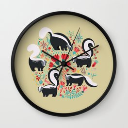 Cute Gang of Skunks Playing in the Garden Wall Clock