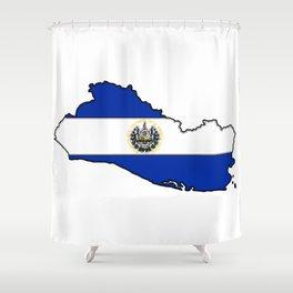 El Salvador Map with Salvadoran Flag Shower Curtain