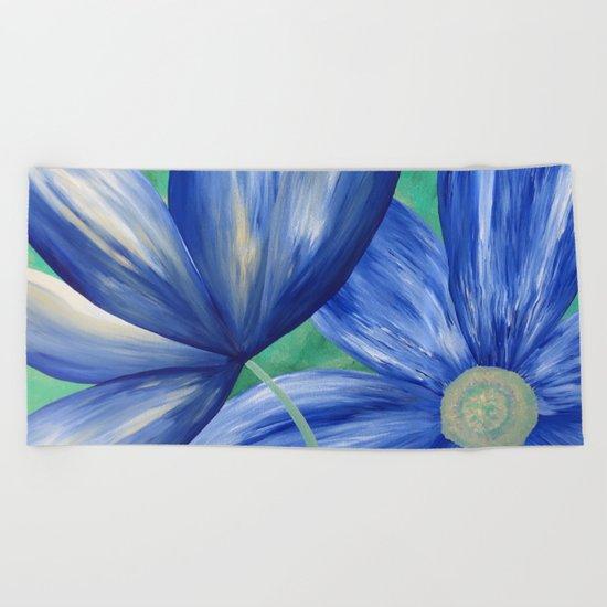 Large Blue Flowers Beach Towel