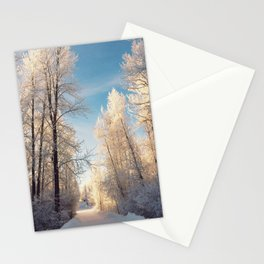 Let There Be Light - Frost Trees in Winter Stationery Cards