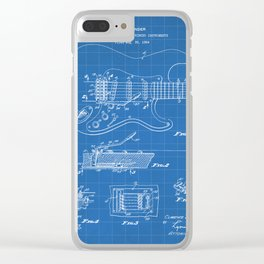 Guitar Tremelo Patent - Guitarist Art - Blueprint Clear iPhone Case