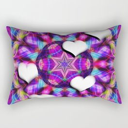 Floating hearts on abstract vibrant kaleidoscope Rectangular Pillow