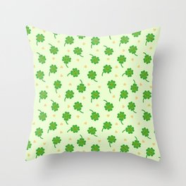 Kawaii Lucky Clover Throw Pillow