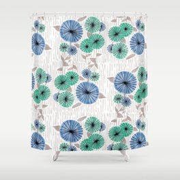 Blue & Green Flower Pattern Shower Curtain