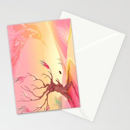 Romantic landscape with tree and sunset Stationery Cards