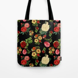 Black and red Vintage roses Tote Bag