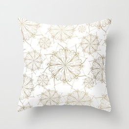 Elegant hand painted gold floral mandala Throw Pillow