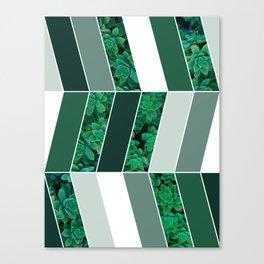 Green Herringbone #society6 #green #succulent Canvas Print