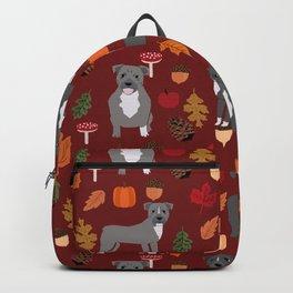 Pitbull fall autumn leaves acorn pinecones dog breed pet gifts pitbulls pet art Backpack