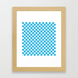 Blue Checkerboard Pattern Framed Art Print