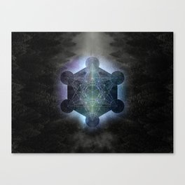 Metatrons Cube - Black and White Canvas Print