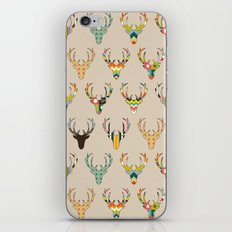 retro deer head on linen iPhone Skin