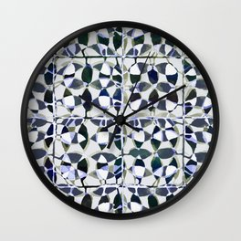 abstract tile in shade of blues Wall Clock