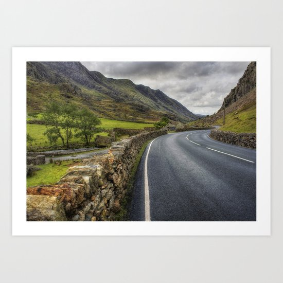 Llanberis Pass Winding Road Art Print