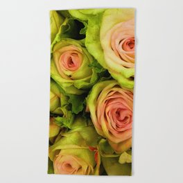 Green & Pink Bouquet Beach Towel