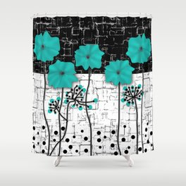 Turquoise flowers on black and white background . Shower Curtain