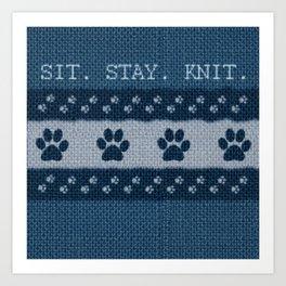 Pet Lover, Knitter, Artist. Blue. Art Print