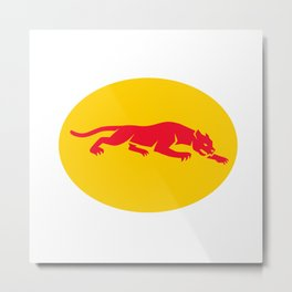 Panther Crouching Oval Retro Metal Print