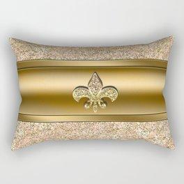 Pink & Gold Glitter Fleur De Lis Rectangular Pillow