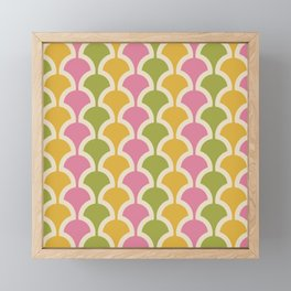 Classic Fan or Scallop Pattern 426 Pink Green and Yellow Framed Mini Art Print