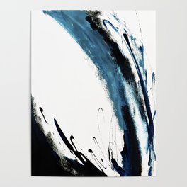 Reykjavik: a pretty and minimal mixed media piece in black, white, and blue Poster