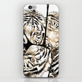 Tiger portrait composition on voronoi pattern iPhone Skin