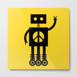 Peace Bot (Yellow) Metal Print