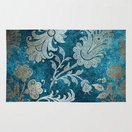 Aqua Teal Vintage Floral Damask Pattern Rug