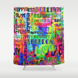 Flower Power Words Of Life Shower Curtain