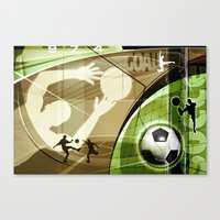 soccer Canvas Prints featuring Soccer by Robin Curtiss