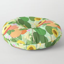 Avocado + Peach Stone Fruit Floral in Mint Green Floor Pillow