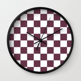 Checkered Pattern: Burgundy Red Wall Clock