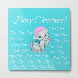 Happy Christmas Santa Kitten / cat Metal Print