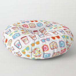 Coffee cup pattern - sunglasses - photocamera - colorful hipster pattern - have a nice day Floor Pillow