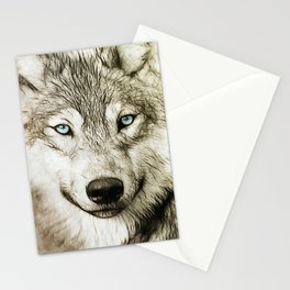 Smokey Sketched Wolf Stationery Cards