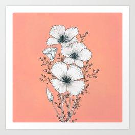windflowers at dusk / botanical line drawing Art Print