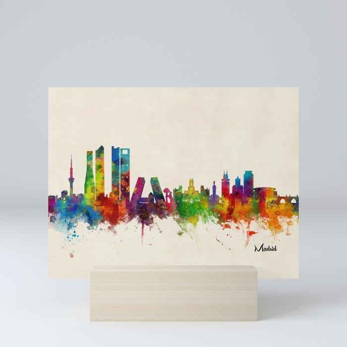 Madrid Skyline Cityscape Watercolor Mini Art Print