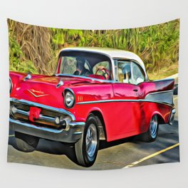 Sunday Drive in the '55 - digital paint Wall Tapestry