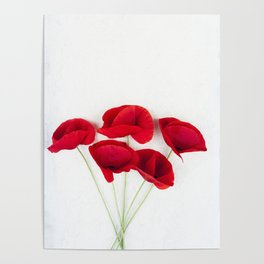 A Bunch Of Red Poppies Poster