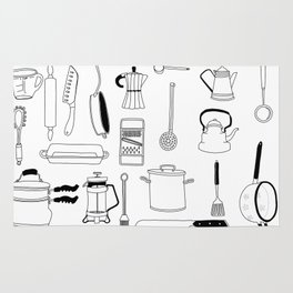 Kitchen essentials in black and white Rug