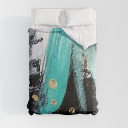 Fairy Dreams: an abstract mixed media piece in black, white, teal, and gold Comforters