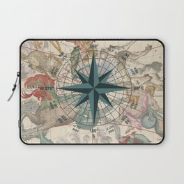 Compass Graphic with an ancient Constellation Map Laptop Sleeve