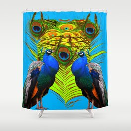 BLUE-GREEN PEACOCKS & LIME FEATHERS ART Shower Curtain